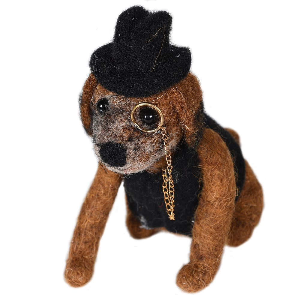 Felt Sherlock Dog in Coat