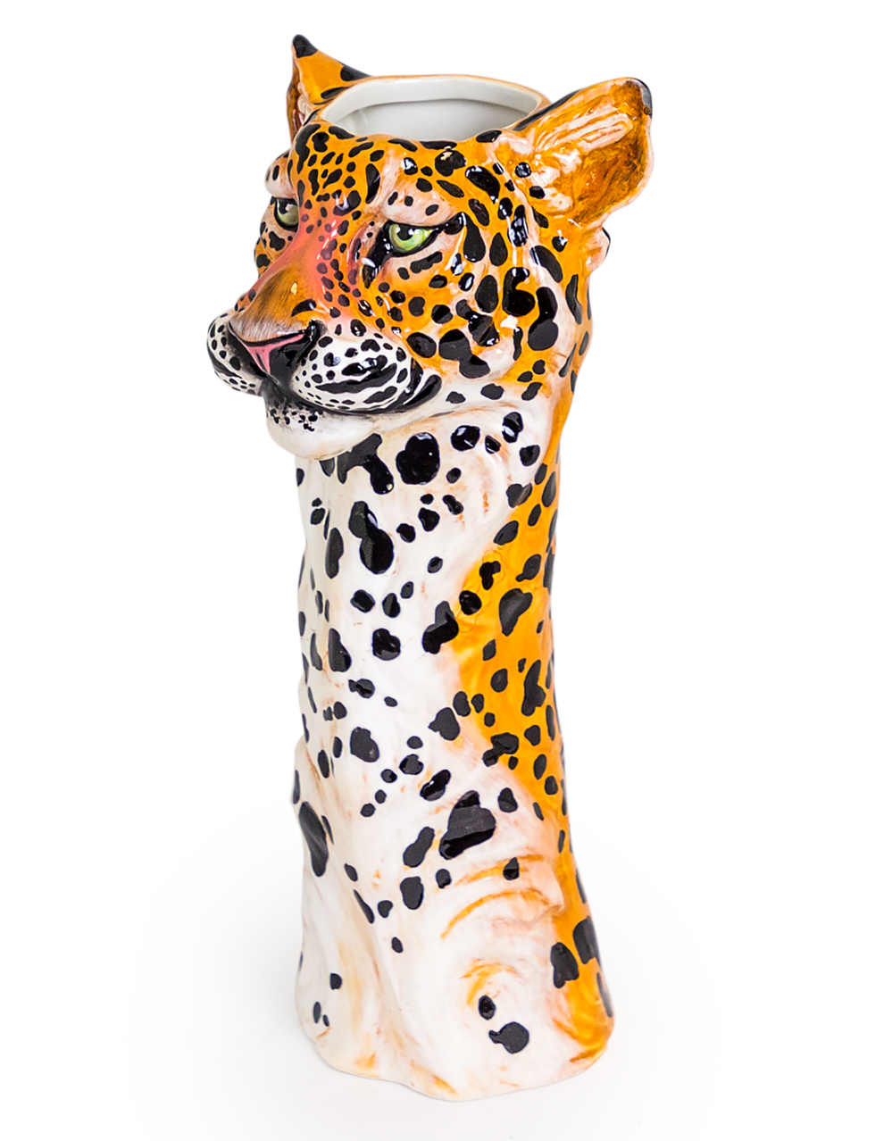 Ceramic Leopard Head Vase