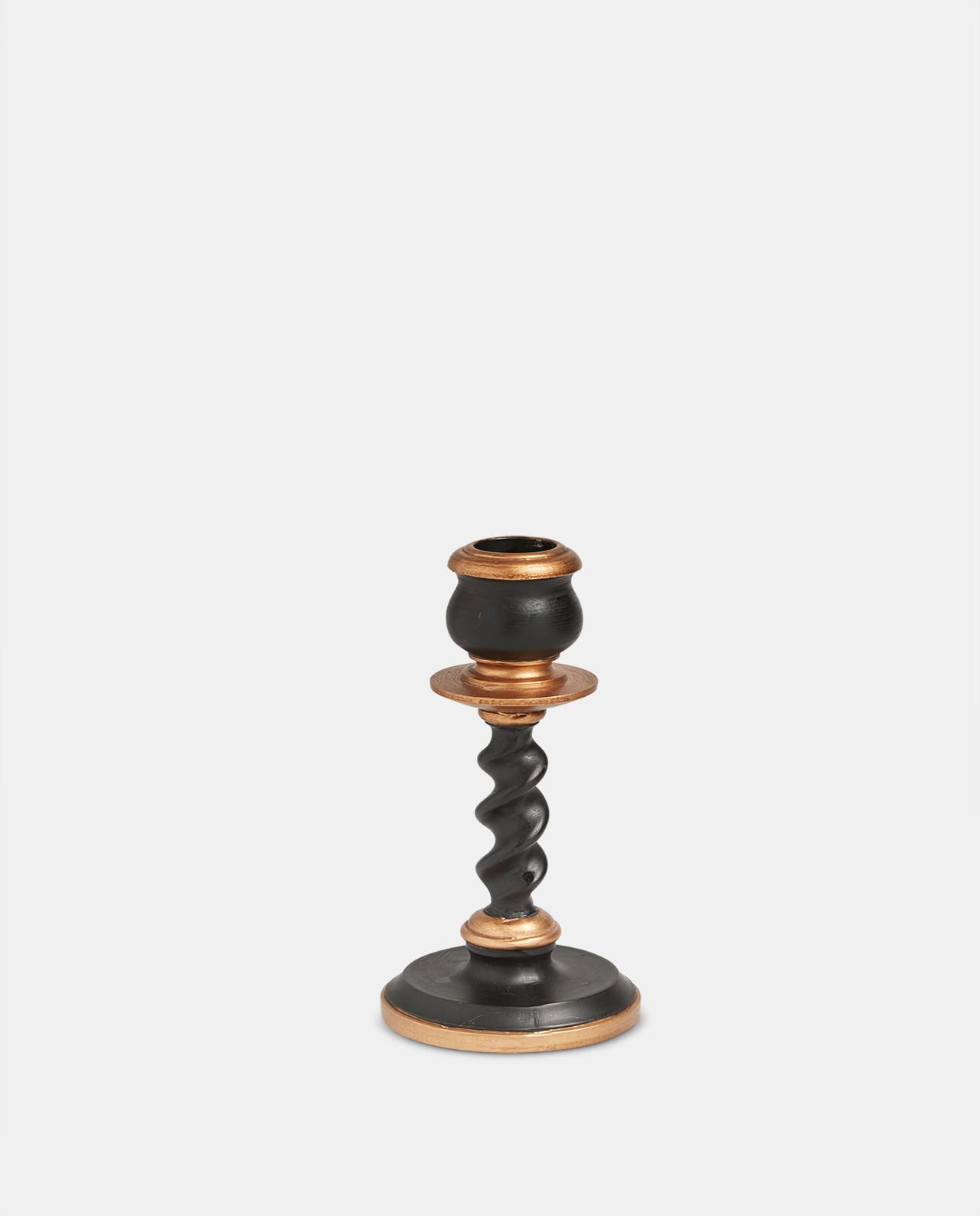 Black & Gold Candlestick 15cm
