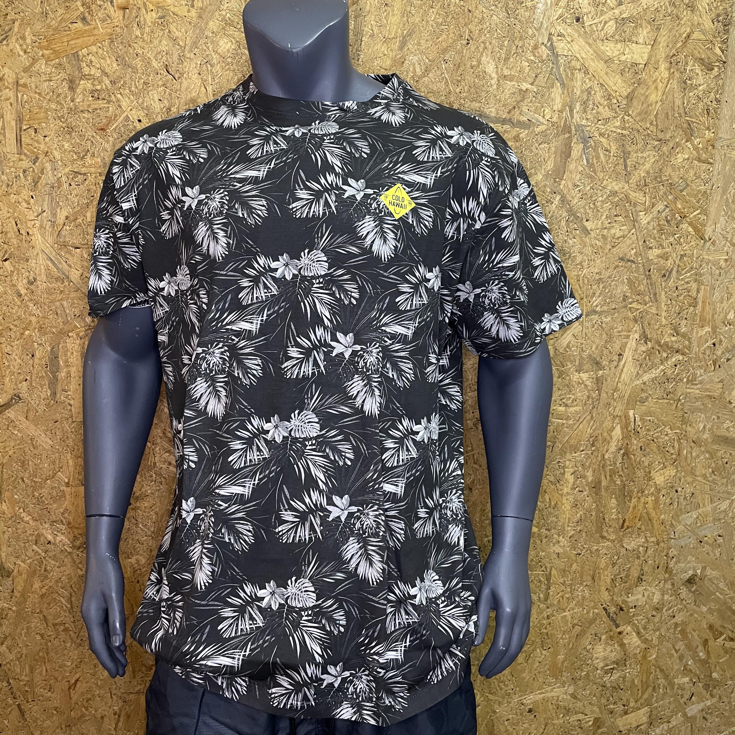 Replika jeans blomstret t-shirt sort 11328