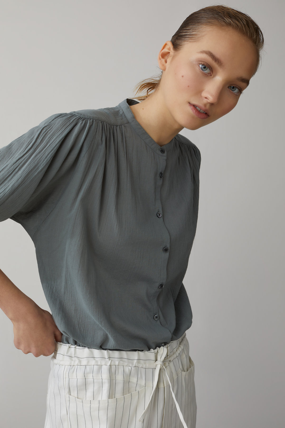 Stand-Up Collar Blouse - Closed