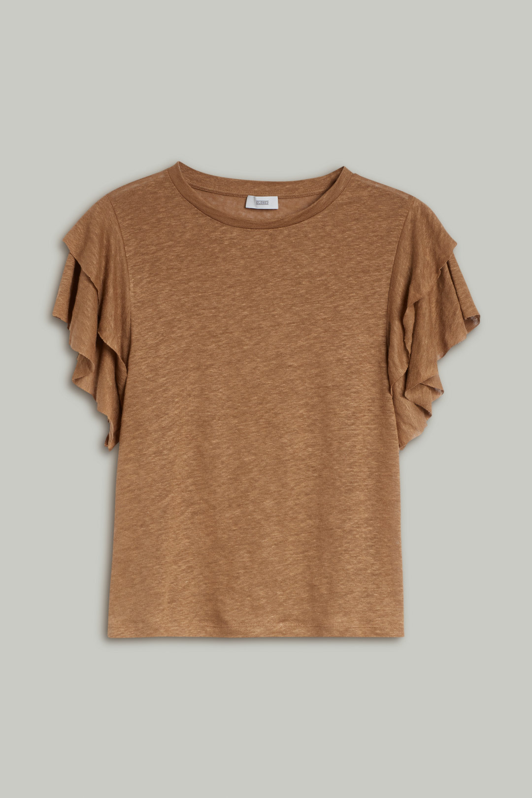 Linen T-Shirt with Flounces - Closed