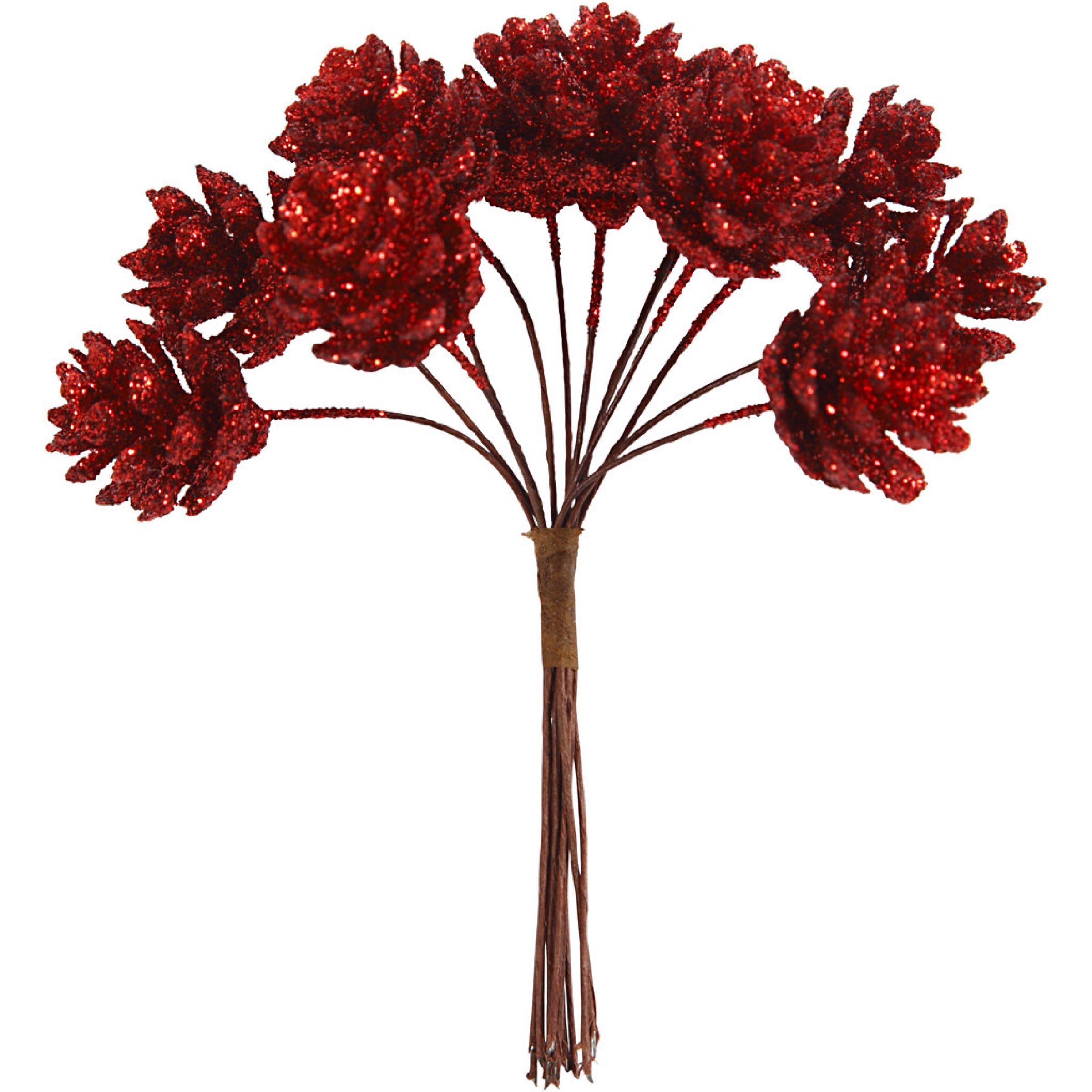 Deco pinne kongle rødglitter