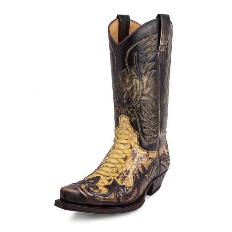 3241 Westernboots bruna/ormskinn python natur Sendra