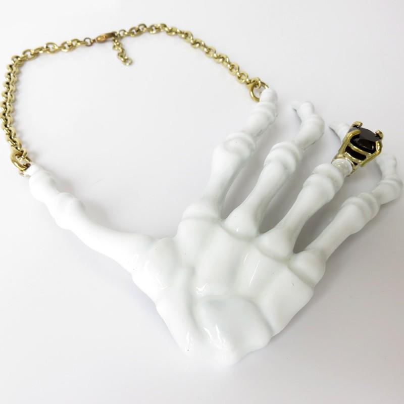 White Skeleton Hand Necklace