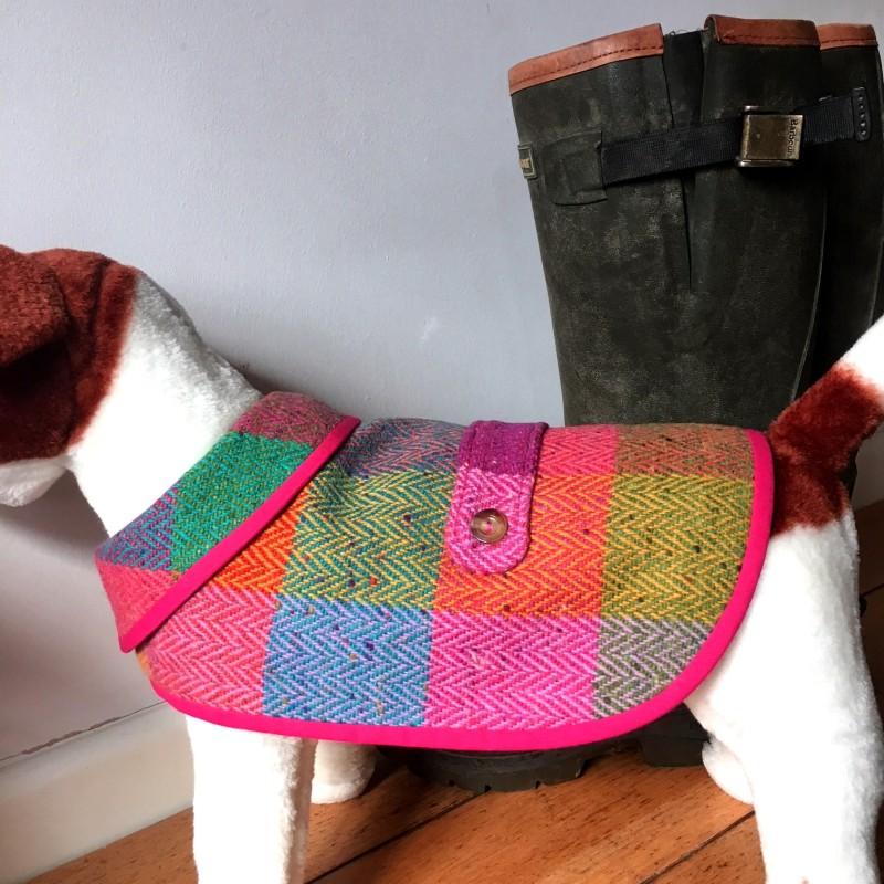 Large Bright Check Tweed Waterproof Dog Coat