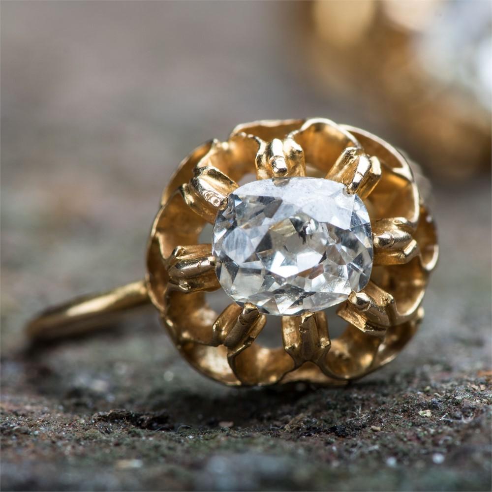 Viktoriansk skru-ørepynt, gult gull, diamant
