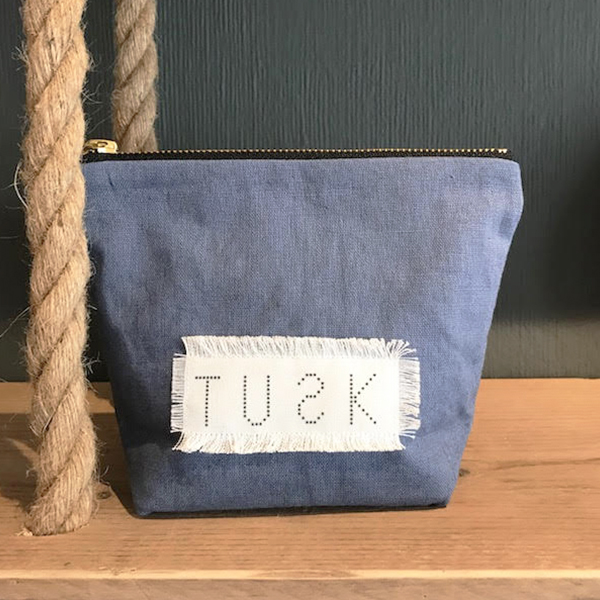 MAKE UP BAG DARK HAZE BLUE LINEN/COTTON {was £26 - £30}