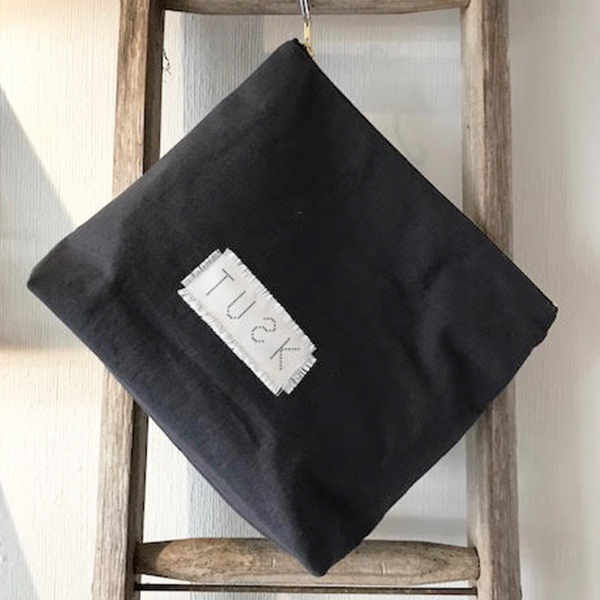 CHARCOAL CLUTCH BAG LINEN/COTTON