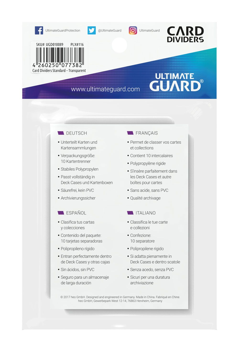 Ultimate Guard Card Dividers Standard Size (10)