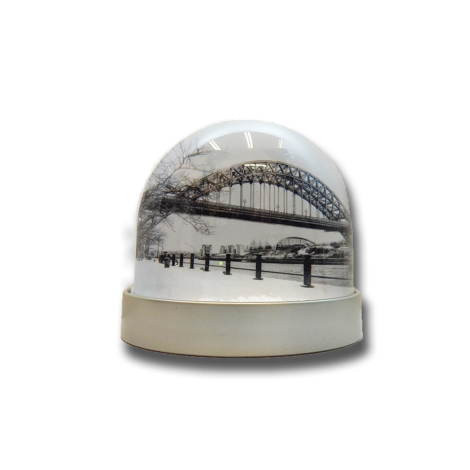 Tyne Bridge & Angel of the North Black & White Snow Globe