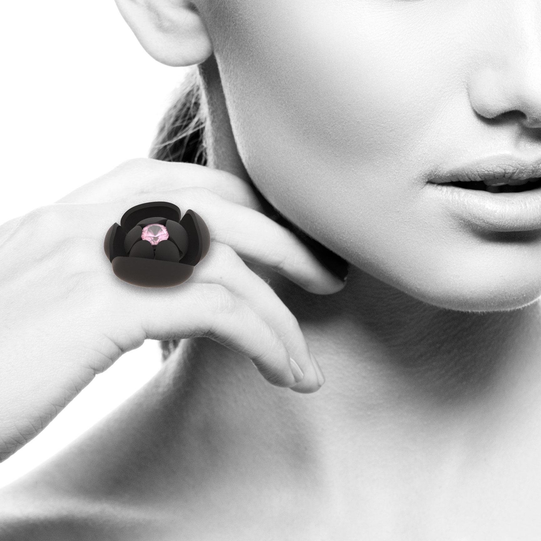 Flower Ring, 10mm Rose Quartz