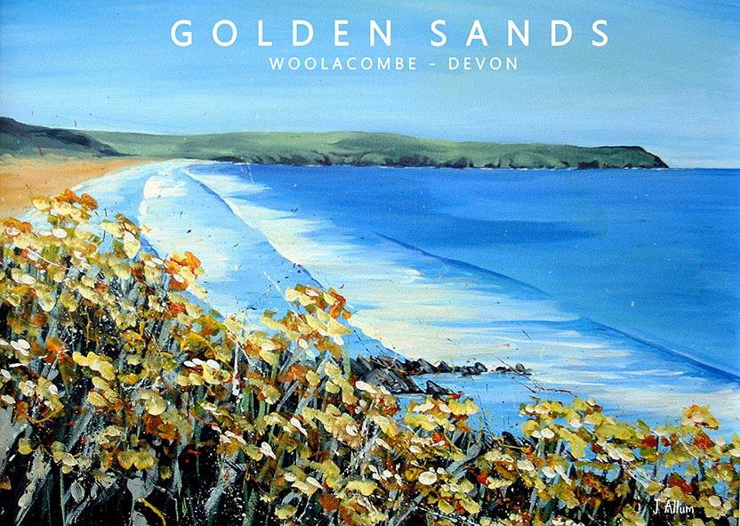 Yellow flowers art print Woolacombe, Devon